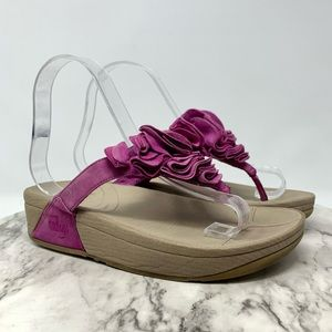 Fitflop pink suede floral thong comfort sandals 5